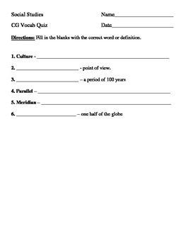 Vocabulary quiz - culture and geography
