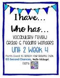Vocabulary review game for Reading Wonders Unit 2 Week 4!