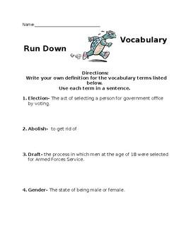 Vocabulary run down- Voting
