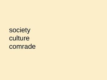 Vocabulary slides - society culture comrade