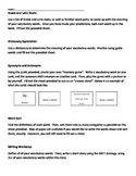 Vocabulary station directions and hand-outs