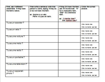 """Vocabulary : the verb """"marcher"""" (to work/function) + vocab, speaking activity"""