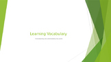 Vocabulary using groups, non linguistic rep. , and examini