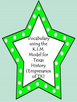 Vocabulary using the K.I.M. Model-Empresarios in Texas History