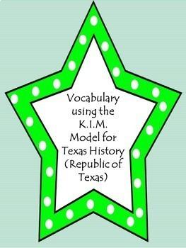 Vocabulary using the K.I.M. Model-Republic of Texas