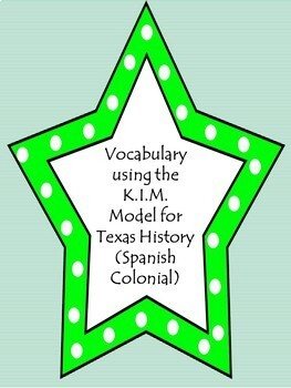 Vocabulary using the K.I.M. Model-Spanish Colonial in Texas History