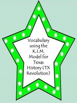 Vocabulary using the K.I.M. Model-Texas Revolution