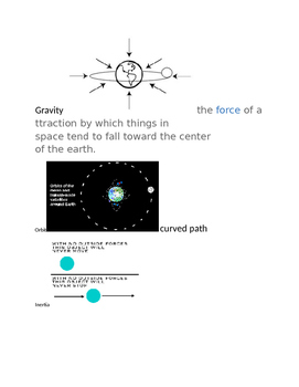 Vocabulary with pictures: Gravity, Orbit, Inertia, and Ellipse