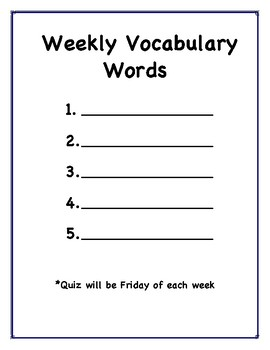 Vocabulary work for the week