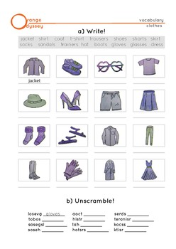 Vocabulary worksheet: clothes