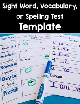 Vocabulary/Sight Word/ Spelling Test Template