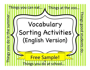 Vocabulary Sorting Activities:  FREE SAMPLE!