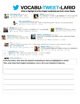 Vocabutweetlario: Realidades 1 Chapter 1A Vocabulary Activity with Twitter