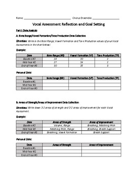 Vocal Assessments 1-3 AND End of the Year Data Reflection and Goal Setting