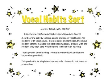 Vocal Habits Card Sort