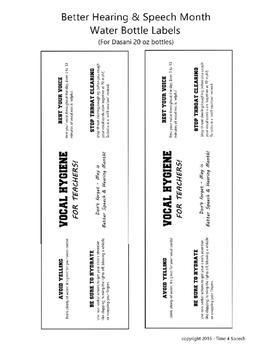 BHSM Vocal Hygiene Water Bottle Labels