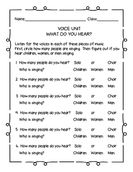 Vocal Timbre Listening Tests - Elementary General Music