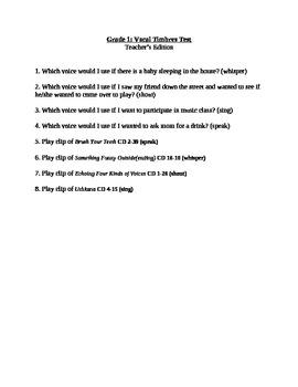 Vocal Timbres Test grade 1