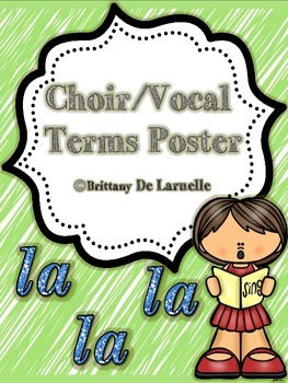 Vocal/Choral Terms Poster - Color, black & white, PLUS editable versions