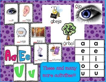 Vocales:  Spanish Vowel Letter/Sound Activities Bundle