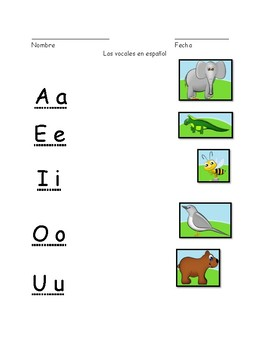 Vocales en español matching