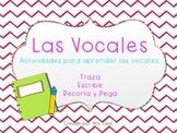 Vocales para trazar, escribir y pegar Spanish Vowels