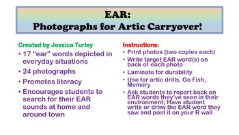 Vocalic R Articulation Photographs for Speech Therapy: EAR