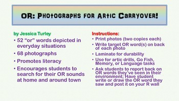 Vocalic R Articulation Photographs for Speech Therapy: OR