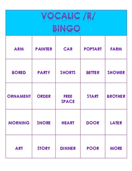 Vocalic /R/ Bingo