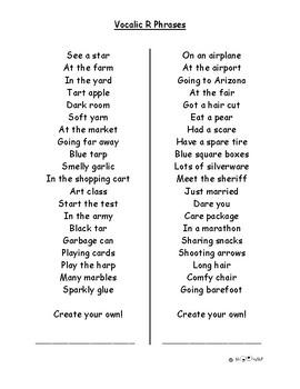 Vocalic R Carryover Practice Phrases