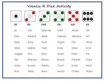 Vocalic R Dice Activity