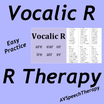 R - Vocalic R Easy Practice Pack