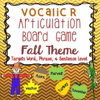 Vocalic R Fall Themed Articulation Board Game