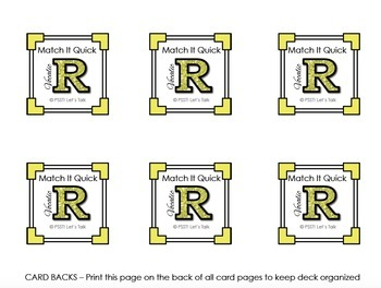 Vocalic R Match It Quick - Square Edition