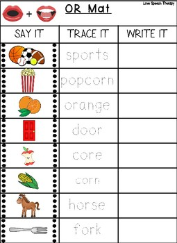Vocalic R - Say It, Trace It, Write It Mats w/ Speech Visuals-Color and B&W Mats