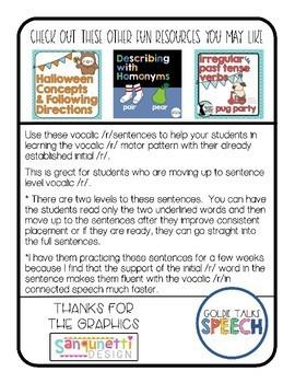 Vocalic R Sentences   Speech Therapy   Ear,Air, Ire, Ar, Or, Er