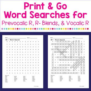 Vocalic R Word Searches FREEBIE!