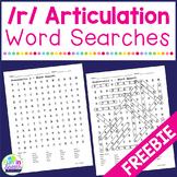 R Articulation Word Search Activities FREEBIE