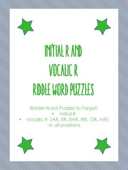 Vocalic R and Initial R Riddle Word Puzzles