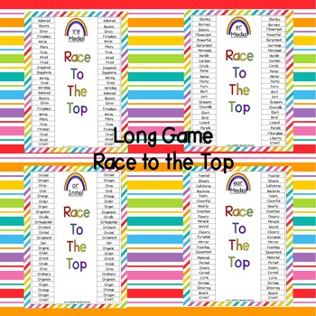 Vocalic R's -Initial, Medial and Final  RACE TO THE TOP GAME