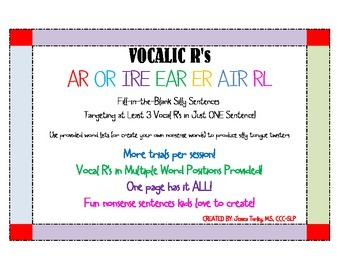 Vocalic R's-Fill in the Blank Sentences for Articulation Drills