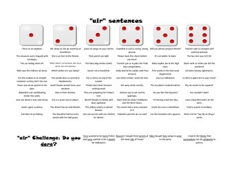 Vocalic and Prevocalic R Sentences - Roll-a-Dice Game