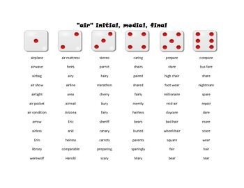 Vocalic and Prevocalic R Words and Phrases: Roll-a-Dice Game