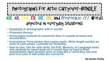 Vocalic and Prevocalic /r/ Photos for Artic Carryover: Bundle-ALL INCLUDED!