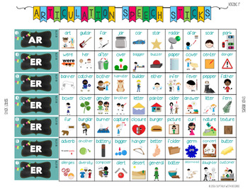 Vocalic /r/ Articulation Speech Sticks: Includes ar, er, or, ire, air, ear