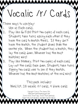 Vocalic /r/ Cards for Speech Therapy by Carissa Speelman ...