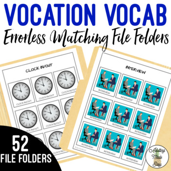 Vocation Vocabulary Errorless Matching File Folders