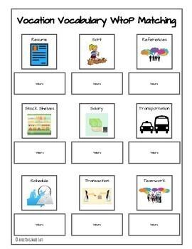 Vocation Vocabulary File Folders
