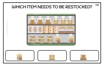 Vocational Job Skills - Which Item Needs to be Restocked? Large Task Cards