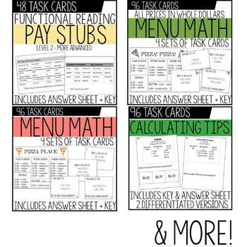 Vocational Math Skills Task Card BUNDLE / Life Skills Math